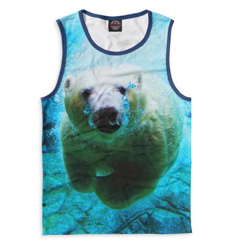 Мужская майка Белый медведь под водой