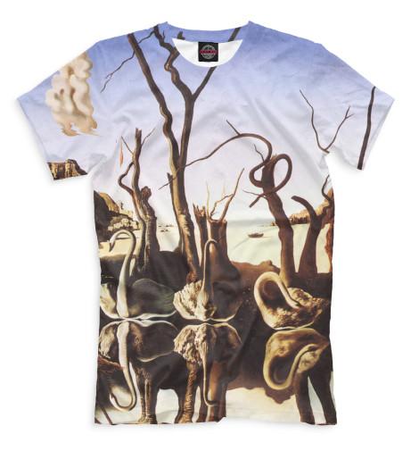 Мужская футболка Лебеди, отражающиеся в слонах Print Bar GHI-756639-fut-2