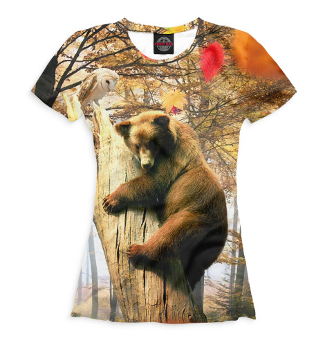 Женская футболка Медведь на дереве