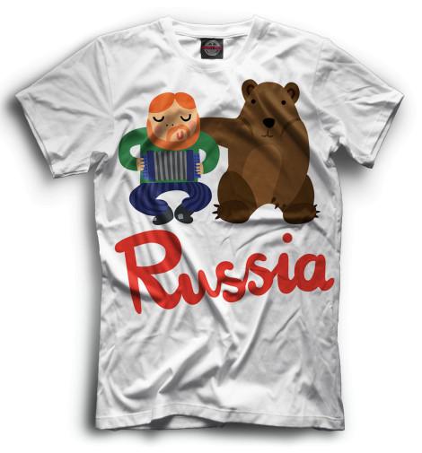 Мужская футболка Медведь и гармонист