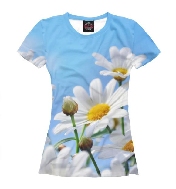 Женская футболка Ромашки на голубом фоне  - купить со скидкой