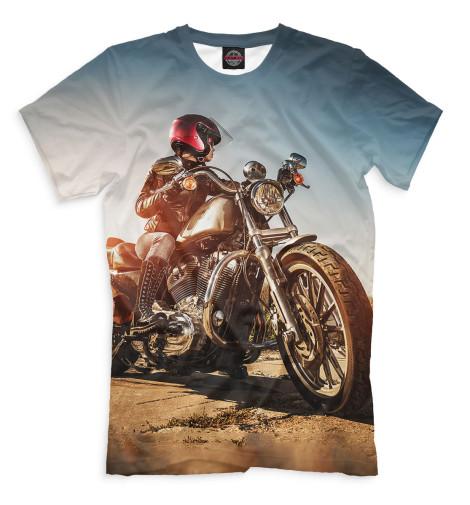 Мужская футболка Девушка на мотоцикле