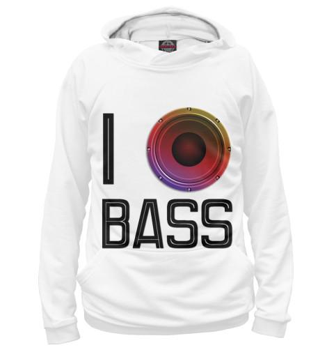 Фото - Мужское худи I love Bass от Print Bar белого цвета