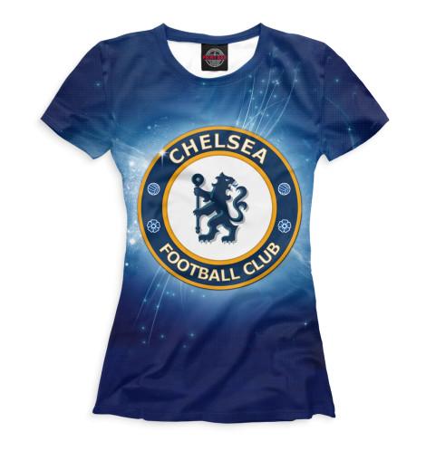 Женская футболка Челси герб и звёзды
