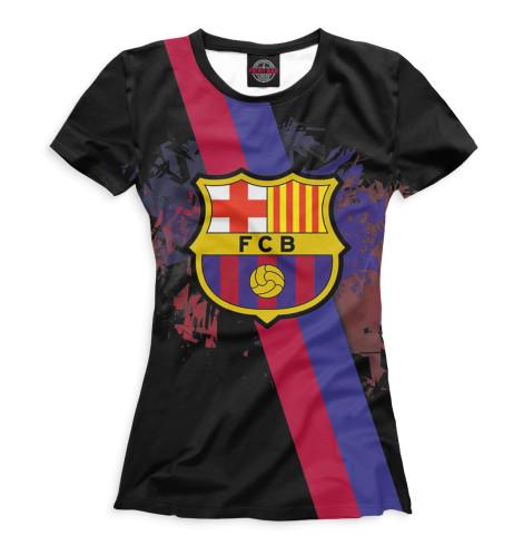 Женская футболка FCB герб и лента