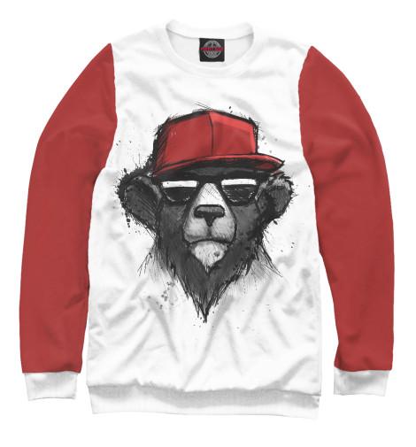 Фото - Мужской свитшот Медведь в бейсболке от Print Bar белого цвета