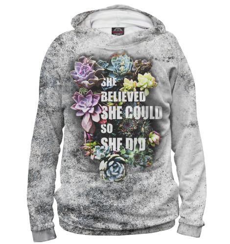 Женское худи She Believed She Could So She Did Print Bar NAD-900943-hud
