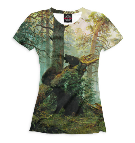 Женская футболка Утро в сосновом лесу