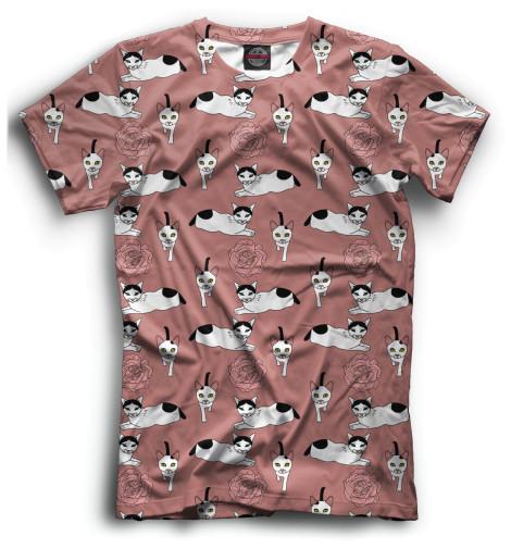 Мужская футболка Кот и розы