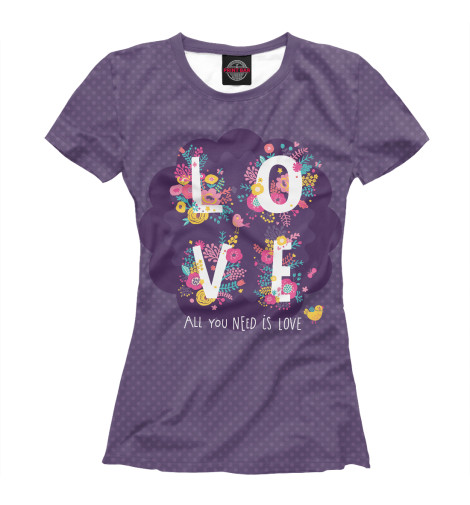 Футболка Print Bar All you need is love майка print bar all you need is love