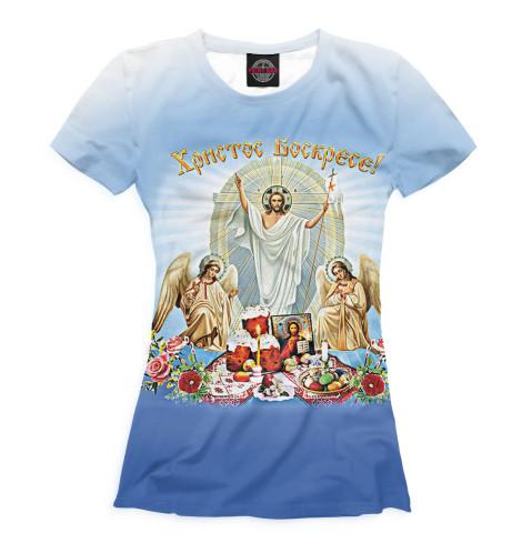 Футболка Print Bar Христос Воскресе вышивка бисером молящийся христос