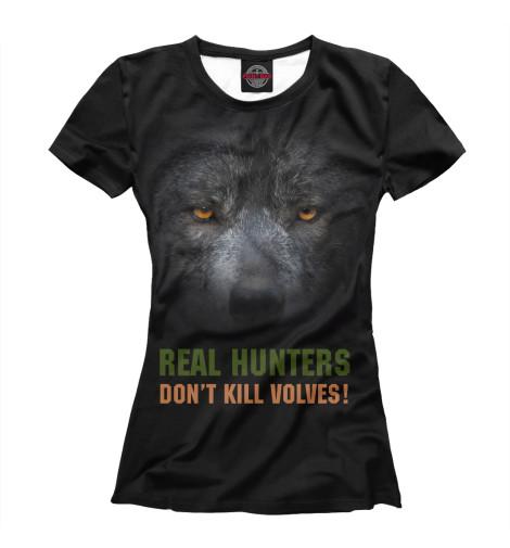 Футболка Print Bar Real hunters don't kill volves! футболка print bar real огненный лого