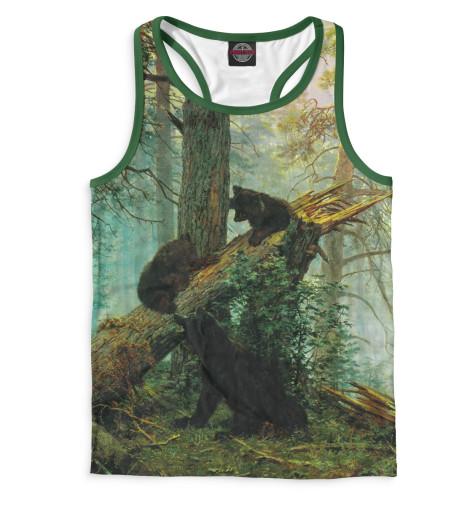 Мужская майка-борцовка Утро в сосновом лесу