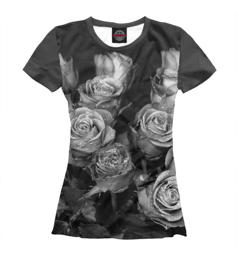 Футболка Print Bar Черно-белые розы