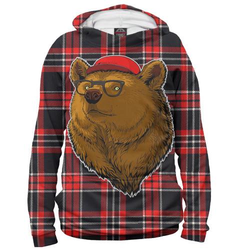 Женское худи Медведь в очках и бейсболке Print Bar MED-150376-hud