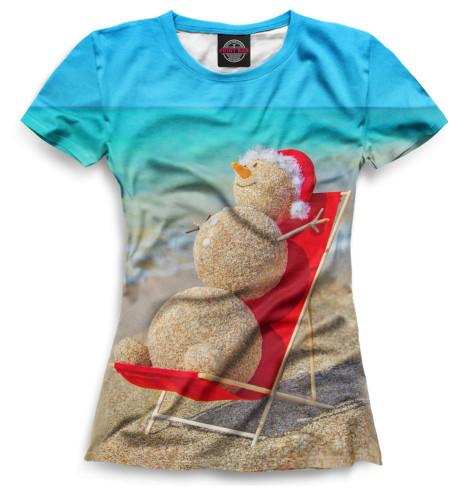 Женская футболка Снеговик на пляже
