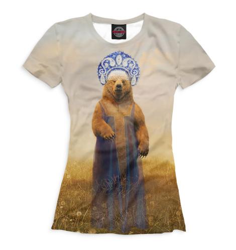 Женская футболка Медведица в сарафане