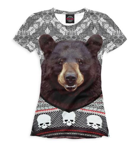 Женская футболка Медведь в свитере