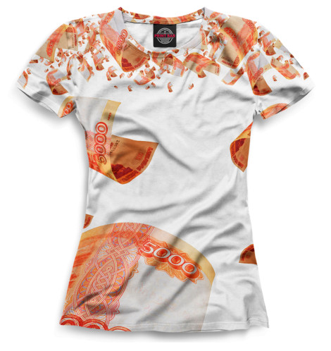 Женская футболка Купюры 5000