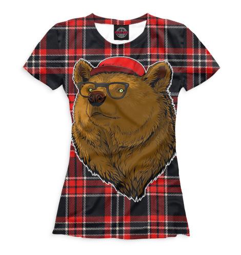 Женская футболка Медведь в очках и бейсболке Print Bar MED-150376-fut-1