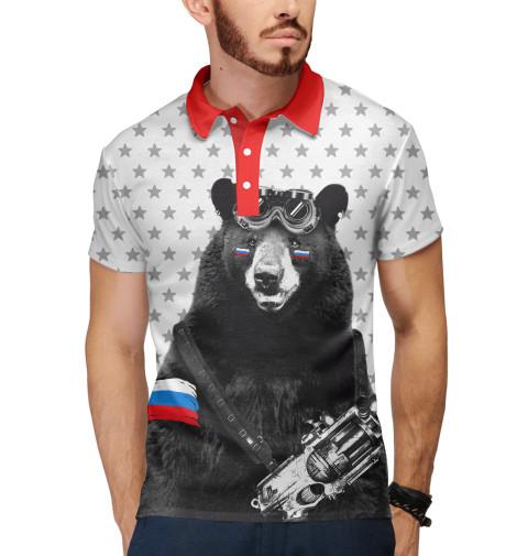 Поло Print Bar Армейский медведь