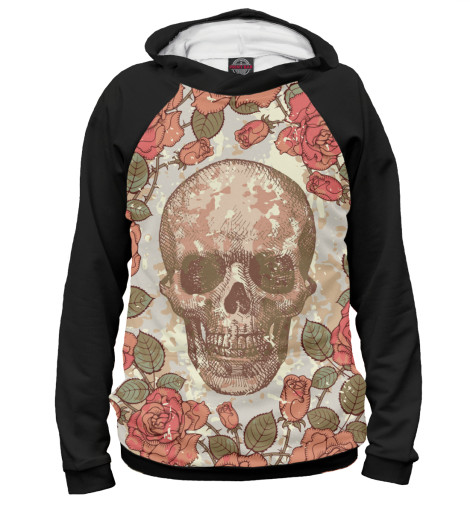 Худи Print Bar Flower skull self tie stripe pattern v neck shirt