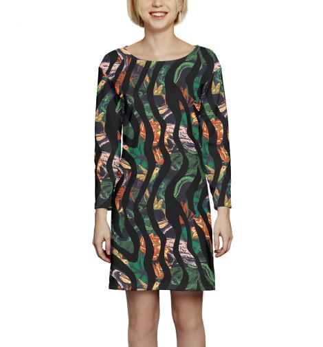 Платье с рукавом Пеликаны