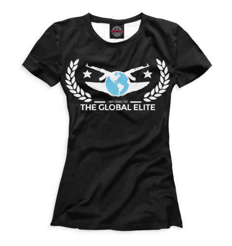 Женская футболка I Belong To Global Elite Black Print Bar COU-611133-fut-1
