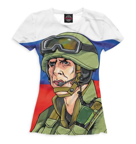 Женская футболка Солдат