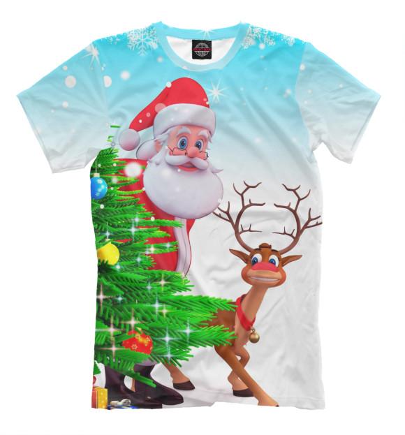 Купить Мужская футболка Дед Мороз и Олень NOV-590105-fut-2