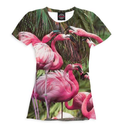 Женская футболка Розовые фламинго