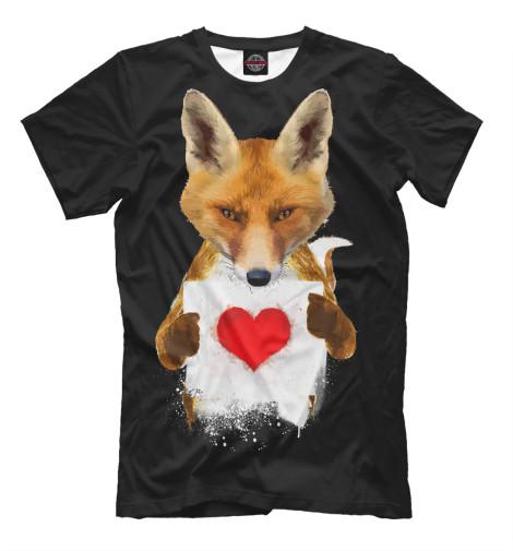 Фото - Мужская футболка Лиса с сердечком от Print Bar белого цвета