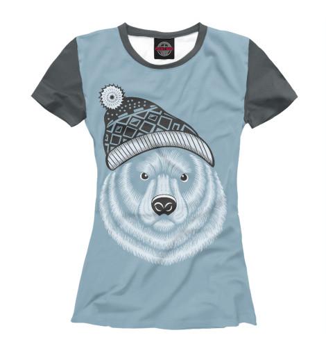 Футболка Print Bar Медведь  вязаной шапке