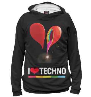 Худи для девочки I Love Techno
