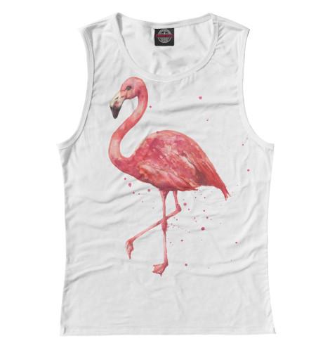 Фото - Женская майка Розовый фламинго от Print Bar белого цвета