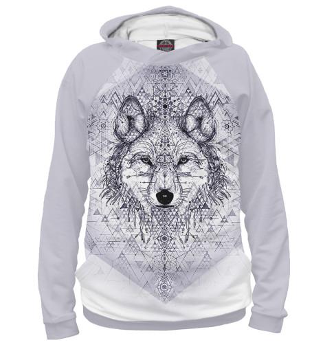 Фото - Мужское худи Волк от Print Bar белого цвета