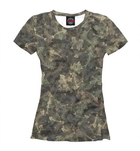 Купить Женская футболка Камуфляж с рыбьими скелетам APD-167708-fut-1