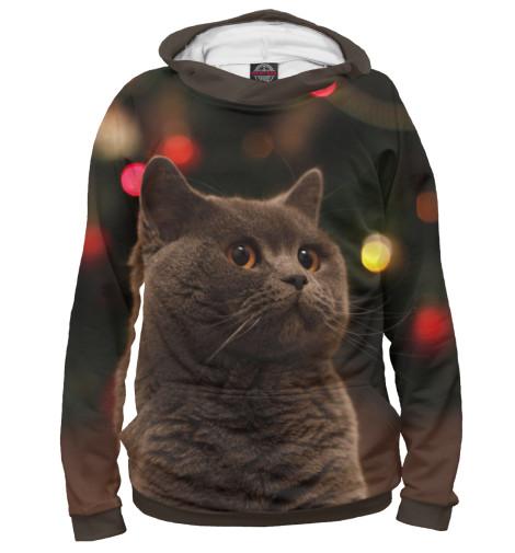 Фото - Женское худи Новогодний кот от Print Bar белого цвета