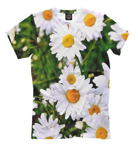 Фото - Мужская футболка Ромашки от Print Bar белого цвета