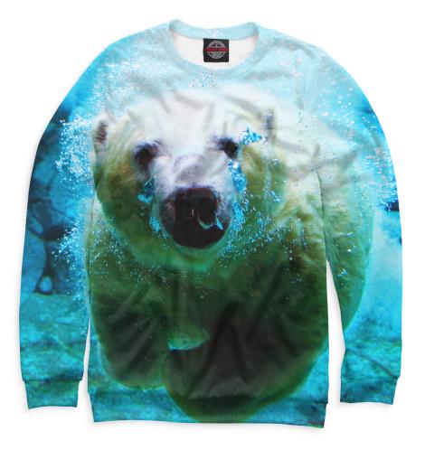 Мужской свитшот Белый медведь под водой