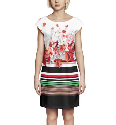Платье без рукавов Цветы