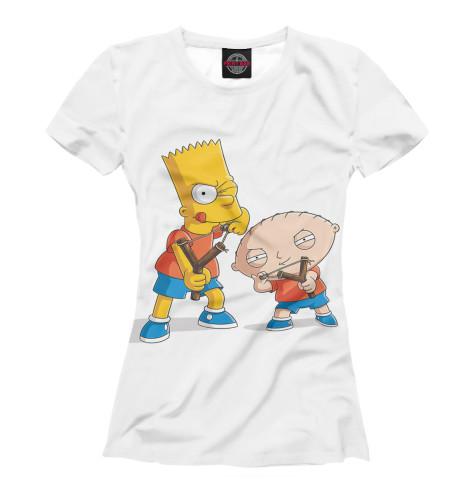 Женская футболка Барт и Стьюи