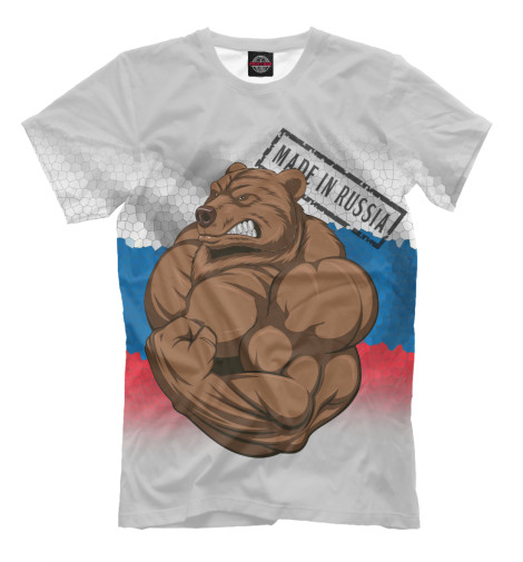 Фото - Мужская футболка Медведь от Print Bar белого цвета
