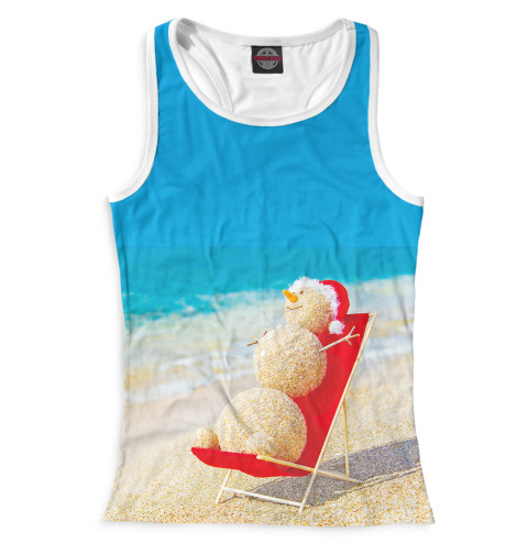 Женская майка-борцовка Снеговик на пляже