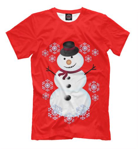 Фото - Мужская футболка Снеговик от Print Bar белого цвета