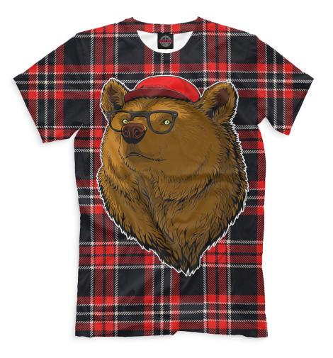 Мужская футболка Медведь в очках и бейсболке Print Bar MED-150376-fut-2