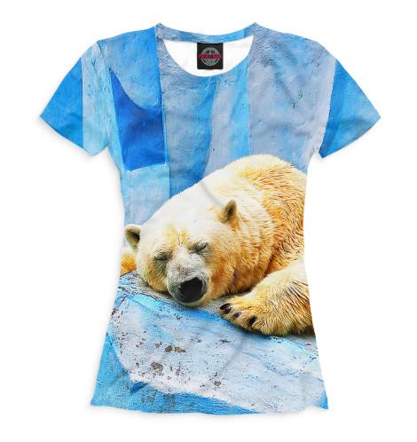 Женская футболка Спящий белый медведь