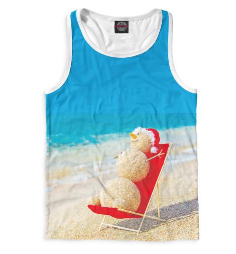 Мужская майка-борцовка Снеговик на пляже