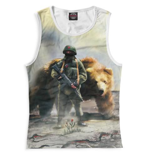 Женская майка Солдат и медведь