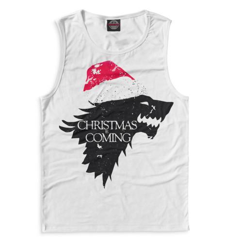 Фото - Мужская майка Christmas is coming от Print Bar белого цвета
